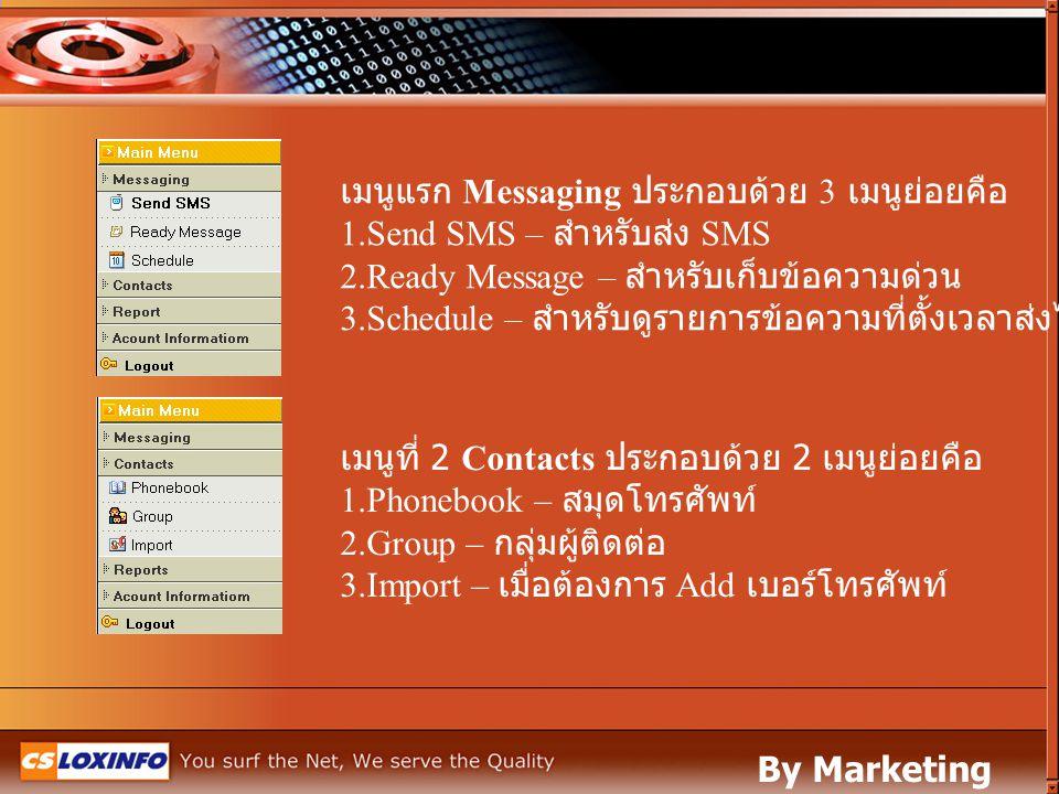 เมนูแรก Messaging ประกอบด้วย 3 เมนูย่อยคือ 1.Send SMS – สำหรับส่ง SMS 2.Ready Message – สำหรับเก็บข้อความด่วน 3.Schedule – สำหรับดูรายการข้อความที่ตั้
