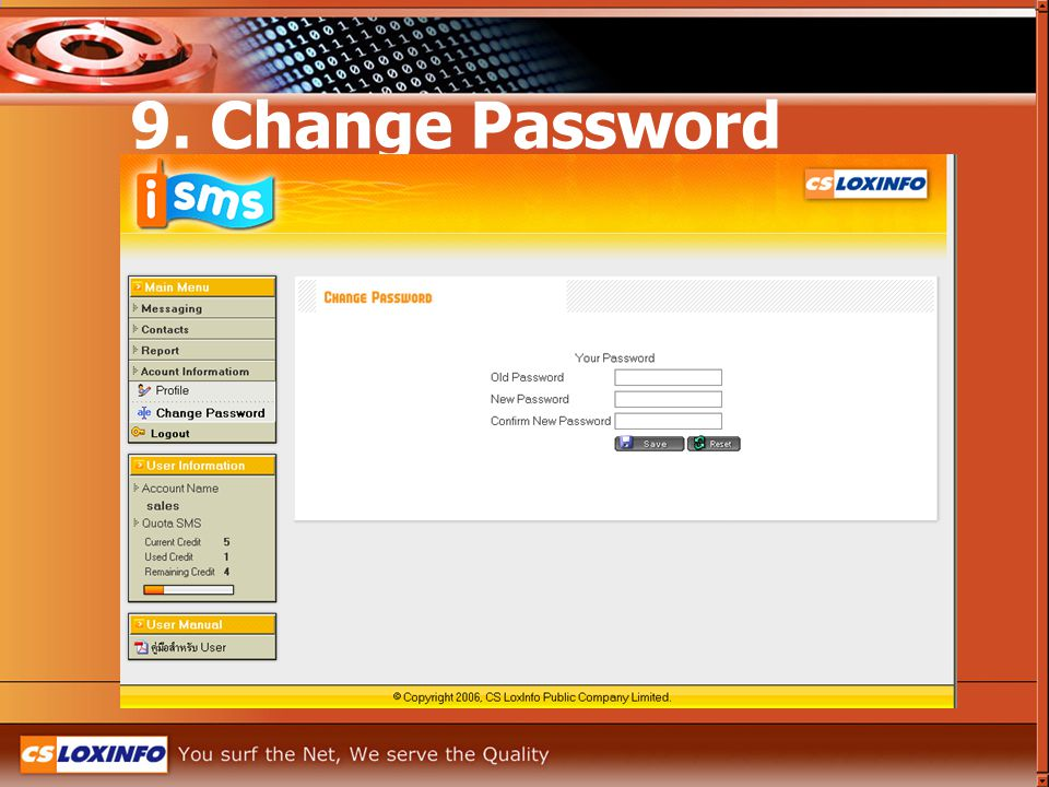 9. Change Password