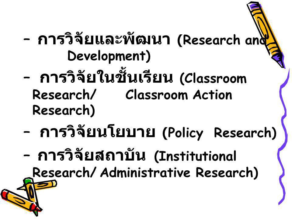 – การวิจัยและพัฒนา (Research and Development) – การวิจัยในชั้นเรียน (Classroom Research/ Classroom Action Research) – การวิจัยนโยบาย (Policy Research)