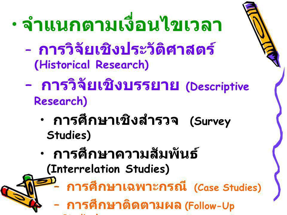 จำแนกตามเงื่อนไขเวลา – การวิจัยเชิงประวัติศาสตร์ (Historical Research) – การวิจัยเชิงบรรยาย (Descriptive Research) การศึกษาเชิงสำรวจ (Survey Studies)