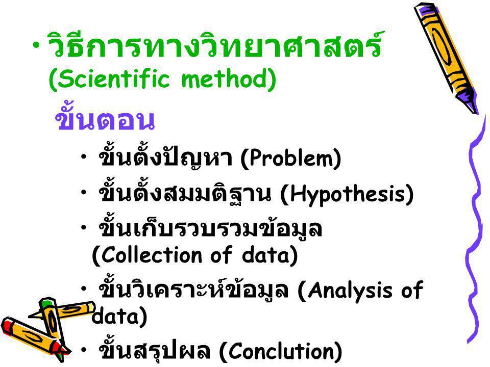 วิธีการทางวิทยาศาสตร์ (Scientific method) ขั้นตอน ขั้นตั้งปัญหา (Problem) ขั้นตั้งสมมติฐาน (Hypothesis) ขั้นเก็บรวบรวมข้อมูล (Collection of data) ขั้น
