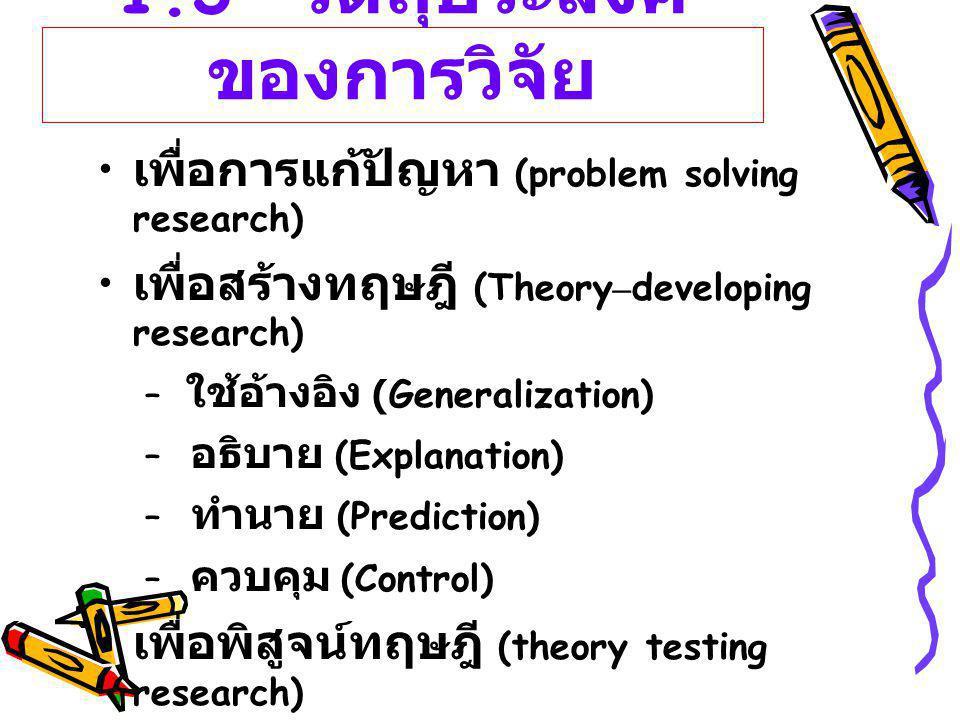 1.3 วัตถุประสงค์ ของการวิจัย เพื่อการแก้ปัญหา (problem solving research) เพื่อสร้างทฤษฎี (Theory – developing research) – ใช้อ้างอิง (Generalization)