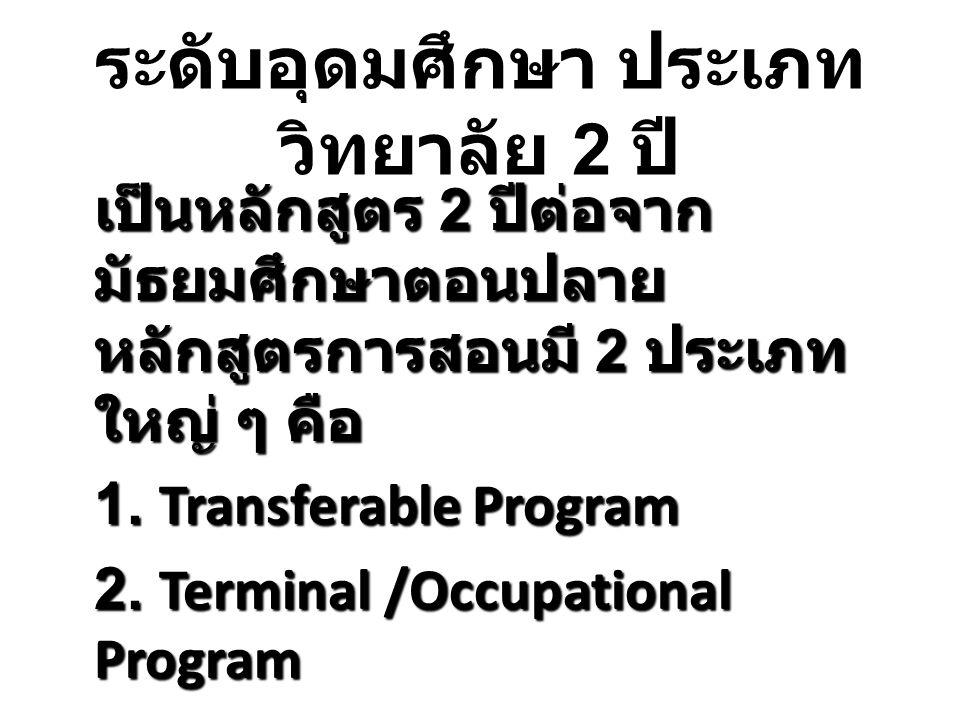 ระดับอุดมศึกษา ประเภท วิทยาลัย 2 ปี เป็นหลักสูตร 2 ปีต่อจาก มัธยมศึกษาตอนปลาย หลักสูตรการสอนมี 2 ประเภท ใหญ่ ๆ คือ 1. Transferable Program 2. Terminal
