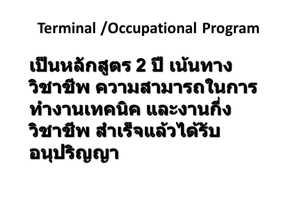 Terminal /Occupational Program เป็นหลักสูตร 2 ปี เน้นทาง วิชาชีพ ความสามารถในการ ทำงานเทคนิค และงานกึ่ง วิชาชีพ สำเร็จแล้วได้รับ อนุปริญญา
