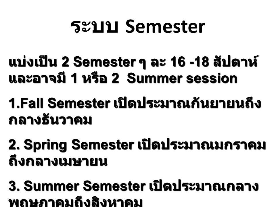 ระบบ Semester แบ่งเป็น 2 Semester ๆ ละ 16 -18 สัปดาห์ และอาจมี 1 หรือ 2 Summer session 1.Fall Semester เปิดประมาณกันยายนถึง กลางธันวาคม 2. Spring Seme
