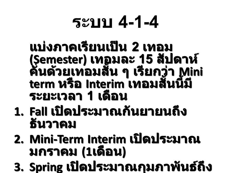 ระบบ 4-1-4 แบ่งภาคเรียนเป็น 2 เทอม (Semester) เทอมละ 15 สัปดาห์ คั่นด้วยเทอมสั้น ๆ เรียกว่า Mini term หรือ Interim เทอมสั้นนี้มี ระยะเวลา 1 เดือน 1.Fa