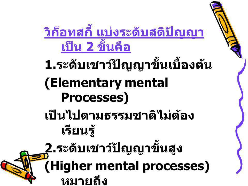 วิก็อทสกี้ แบ่งระดับสติปัญญา เป็น 2 ขั้นคือ 1. ระดับเชาว์ปัญญาขั้นเบื้องต้น (Elementary mental Processes) เป็นไปตามธรรมชาติไม่ต้อง เรียนรู้ 2. ระดับเช