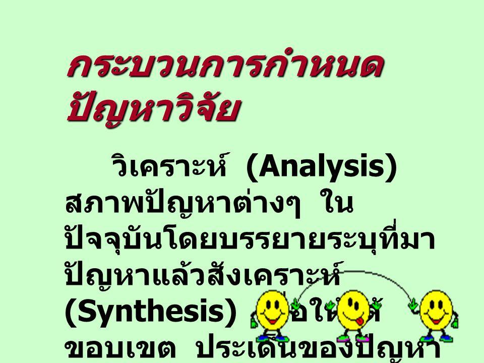 กระบวนการกำหนด ปัญหาวิจัย วิเคราะห์ (Analysis) สภาพปัญหาต่างๆ ใน ปัจจุบันโดยบรรยายระบุที่มา ปัญหาแล้วสังเคราะห์ (Synthesis) เพื่อให้ได้ ขอบเขต ประเด็น