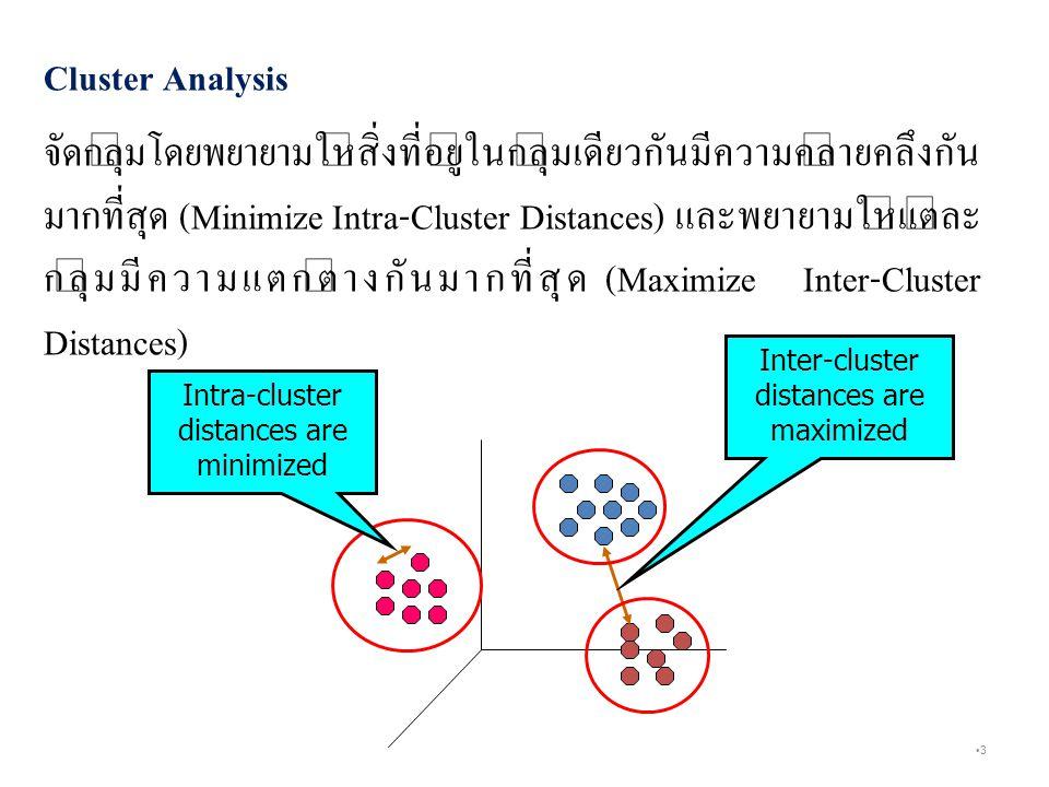 3 Cluster Analysis จัดกลุ่มโดยพยายามให้สิ่งที่อยู่ในกลุ่มเดียวกันมีความคล้ายคลึงกัน มากที่สุด (Minimize Intra-Cluster Distances) และพยายามให้แต่ละ กลุ่มมีความแตกต่างกันมากที่สุด (Maximize Inter-Cluster Distances) Inter-cluster distances are maximized Intra-cluster distances are minimized