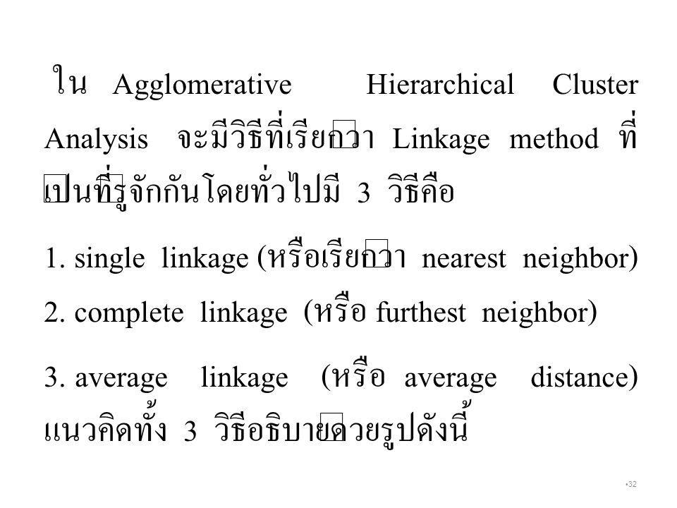32 ใน Agglomerative Hierarchical Cluster Analysis จะมีวิธีที่เรียกว่า Linkage method ที่ เป็นที่รู้จักกันโดยทั่วไปมี 3 วิธีคือ 1.