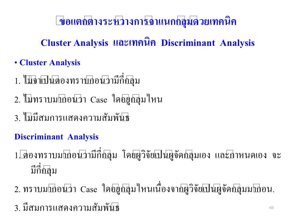 58 ข้อแตกต่างระหว่างการจำแนกกลุ่มด้วยเทคนิค Cluster Analysis และเทคนิค Discriminant Analysis Cluster Analysis 1.
