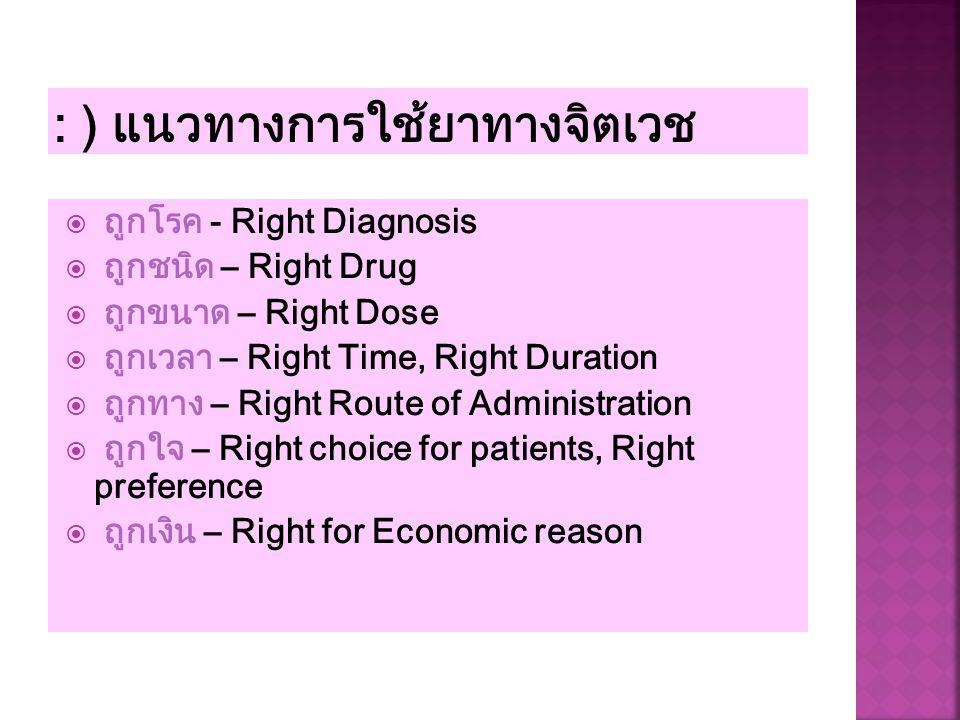 ถูกโรค - Right Diagnosis  ถูกชนิด – Right Drug  ถูกขนาด – Right Dose  ถูกเวลา – Right Time, Right Duration  ถูกทาง – Right Route of Administrati