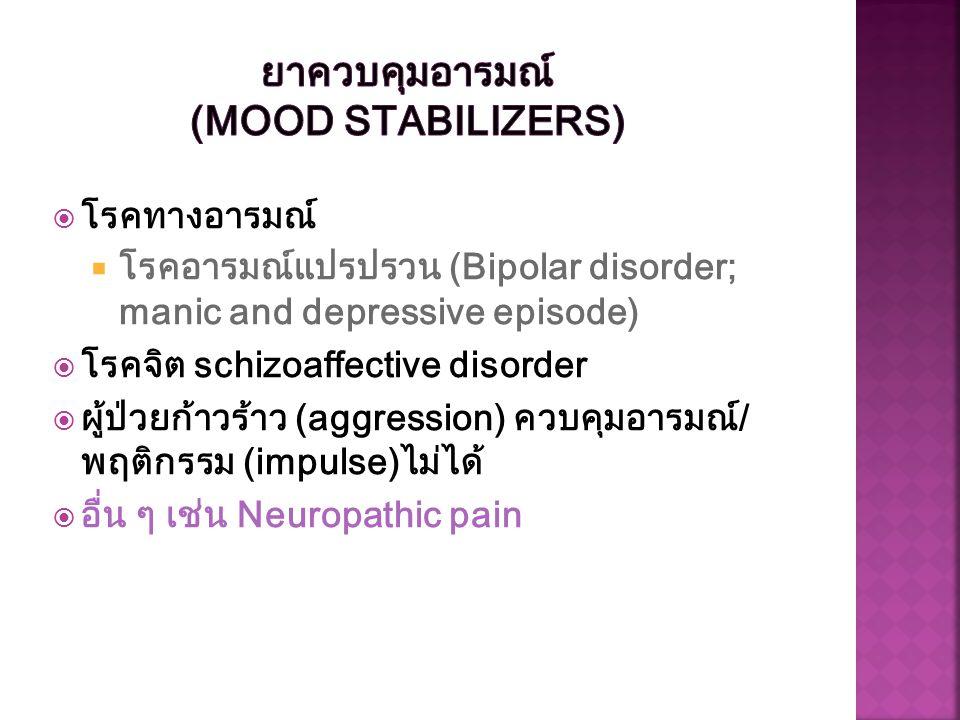  โรคทางอารมณ์  โรคอารมณ์แปรปรวน (Bipolar disorder; manic and depressive episode)  โรคจิต schizoaffective disorder  ผู้ป่วยก้าวร้าว (aggression) คว