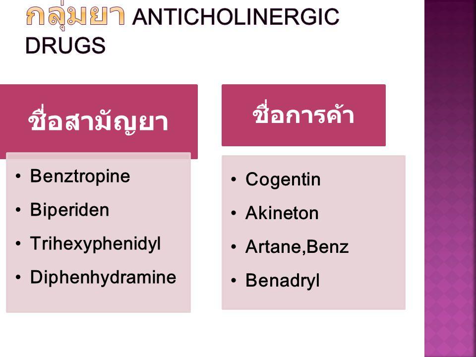ชื่อสามัญยา Benztropine Biperiden Trihexyphenidyl Diphenhydramine ชื่อการค้า Cogentin Akineton Artane,Benz Benadryl