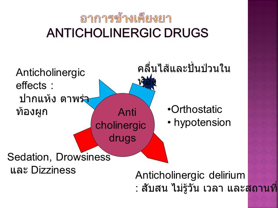 Anti cholinergic drugs Anticholinergic effects : ปากแห้ง ตาพร่า ท้องผูก คลื่นไส้และปั่นป่วนใน ท้อง Anticholinergic delirium : สับสน ไม่รู้วัน เวลา และ
