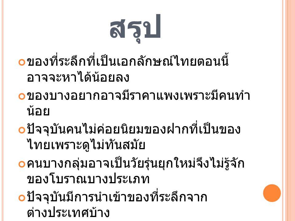 สรุป ของที่ระลึกที่เป็นเอกลักษณ์ไทยตอนนี้ อาจจะหาได้น้อยลง ของบางอยากอาจมีราคาแพงเพราะมีคนทำ น้อย ปัจจุบันคนไม่ค่อยนิยมของฝากที่เป็นของ ไทยเพราะดูไม่ท