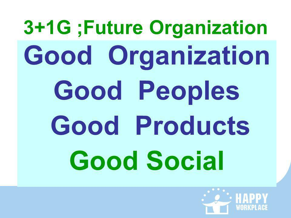3+1G ;Future Organization Good Organization Good Peoples Good Products Good Social
