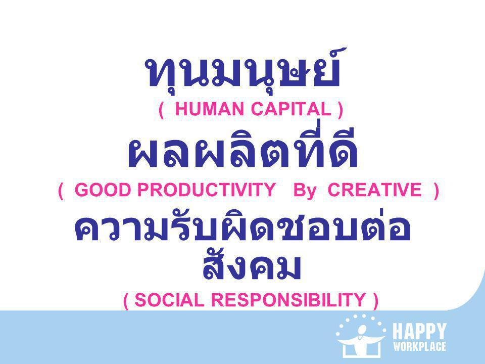 ทุนมนุษย์ ( HUMAN CAPITAL ) ผลผลิตที่ดี ( GOOD PRODUCTIVITY By CREATIVE ) ความรับผิดชอบต่อ สังคม ( SOCIAL RESPONSIBILITY )