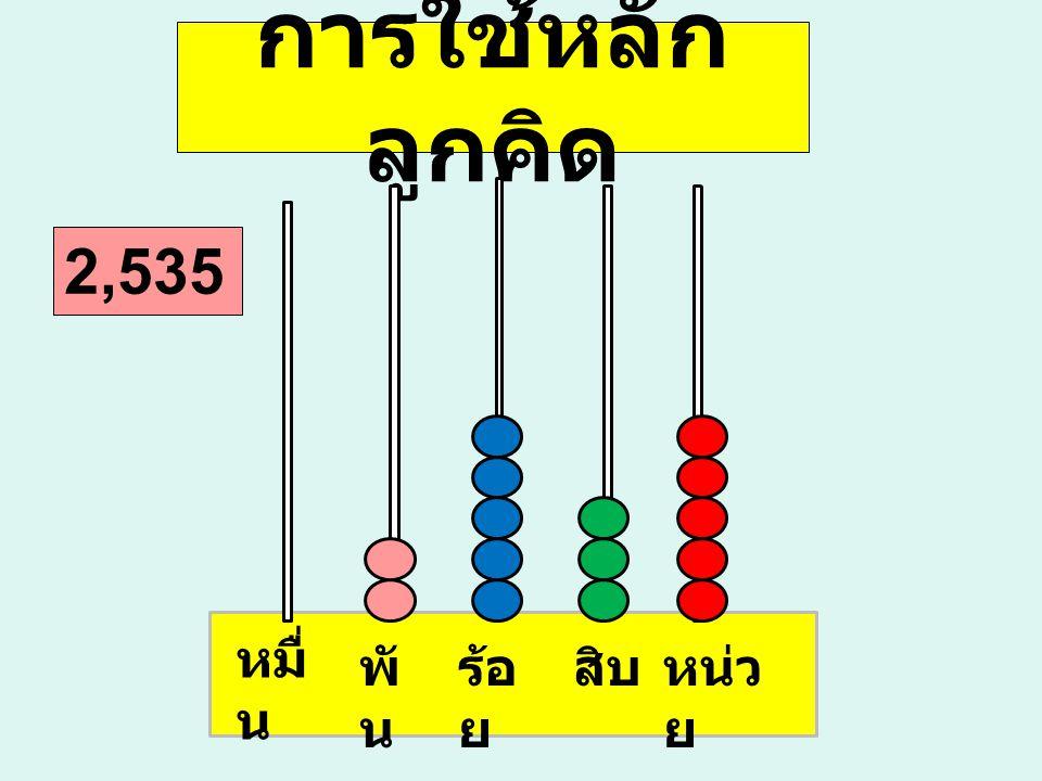 การใช้หลัก ลูกคิด หน่ว ย สิบร้อ ย พั น หมื่ น 2,535