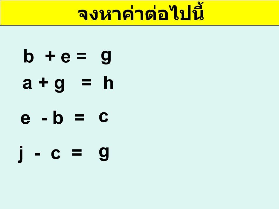 จงหาค่าต่อไปนี้ b + e = g a + g = e - b = j - c = h c g