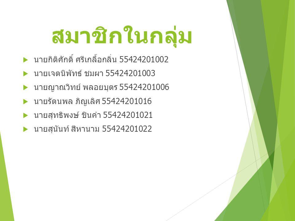 สมาชิกในกลุ่ม  นายกิติศักดิ์ ศรีเกลื้อกลิ่น 55424201002  นายเจตนิพัทธ์ ชมผา 55424201003  นายญาณวิทย์ พลอยบุตร 55424201006  นายรัตนพล ภิญเลิศ 55424201016  นายสุทธิพงษ์ ชินคำ 55424201021  นายสุนันท์ สีหานาม 55424201022