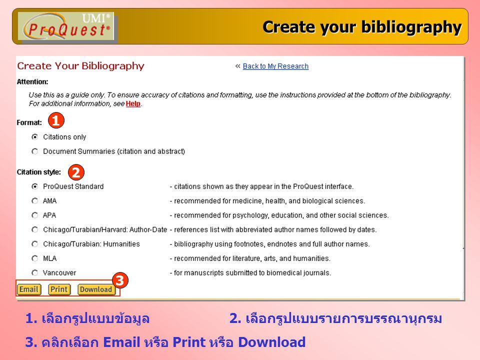 Create your bibliography 1. เลือกรูปแบบข้อมูล2. เลือกรูปแบบรายการบรรณานุกรม 3. คลิกเลือก Email หรือ Print หรือ Download 1 2 3