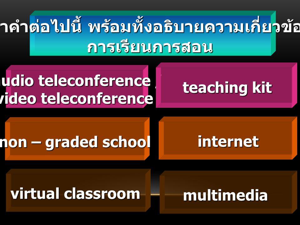 ศึกษาคำต่อไปนี้ พร้อมทั้งอธิบายความเกี่ยวข้องกับ การเรียนการสอน audio teleconference / audio teleconference / video teleconference non – graded school