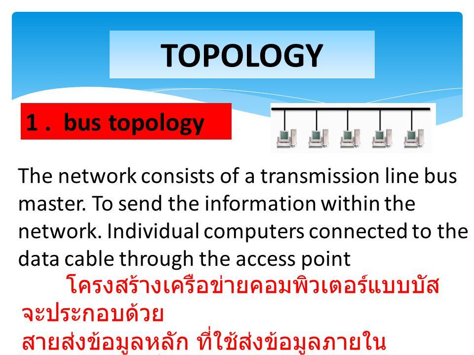 โครงสร้างเครือข่ายคอมพิวเตอร์แบบบัส จะประกอบด้วย สายส่งข้อมูลหลัก ที่ใช้ส่งข้อมูลภายใน เครือข่าย เครื่องคอมพิวเตอร์ แต่ละเครื่องเชื่อมต่อเข้ากับสายข้อ