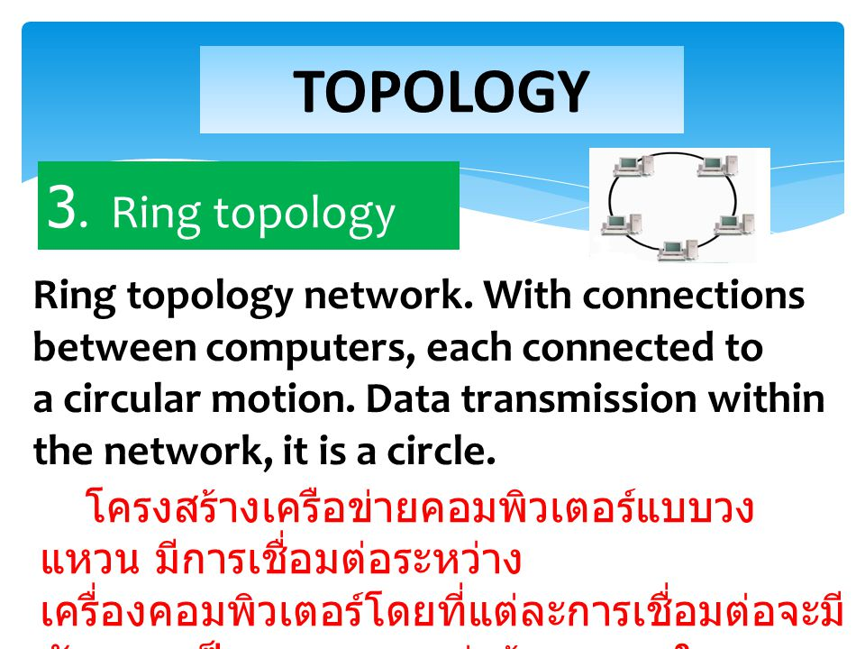 Ring topology network.With connections between computers, each connected to a circular motion.