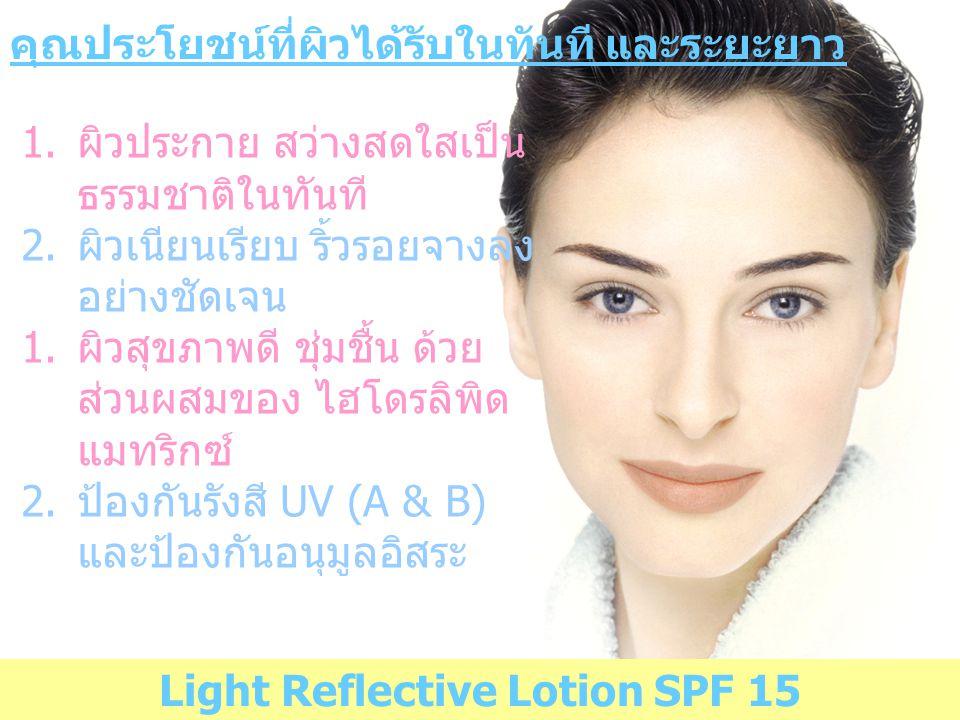 Light Reflective Lotion SPF 15 คุณประโยชน์ที่ผิวได้รับในทันที และระยะยาว 1.