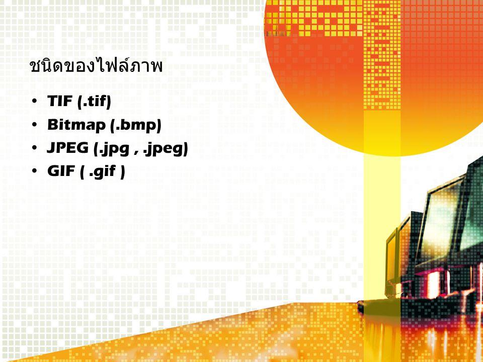 ชนิดของไฟล์ภาพ TIF (.tif) Bitmap (.bmp) JPEG (.jpg,.jpeg) GIF (.gif )