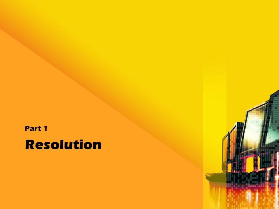 Resolution การกำหนดความละเอียดของภาพ (Resolution) จะต้องทำการกำหนดให้เหมาะสมกับลักษณะของ งานที่จะนำภาพนั้นไปใช้ เพื่อให้ชิ้นงานผลลัพธ์ออกมาดี ภาพมีความคมชัด และสามารถตอบสนอง ต่อความต้องการใช้งานแต่ประเภทได้ดีและ เหมาะสม โดยความละเอียดของภาพที่เหมาะสมกับ งานแต่ละแบบ สามารถแสดงรายละเอียดดังนี้ ความละเอียดสำหรับการแสดงผลบนจอ คอม ความละเอียดสำหรับภาพที่จะนำไปพิมพ์ ผ่าน Printer ความละเอียดสำหรับงานสื่อสิ่งพิมพ์