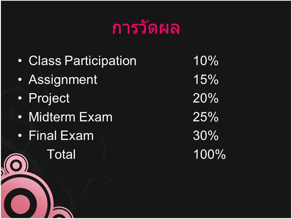 การวัดผล Class Participation10% Assignment15% Project20% Midterm Exam25% Final Exam30% Total100%