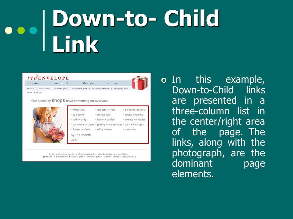 Down-to- Child Link In this example, Down-to-Child links are presented in a three-column list in the center/right area of the page.