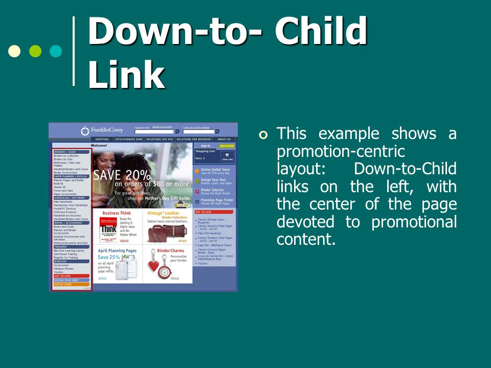 Down-to- Child Link This example shows a promotion-centric layout: Down-to-Child links on the left, with the center of the page devoted to promotional content.