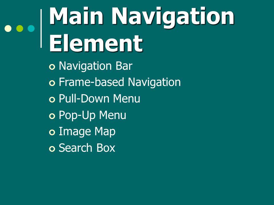 Main Navigation Element Navigation Bar Frame-based Navigation Pull-Down Menu Pop-Up Menu Image Map Search Box