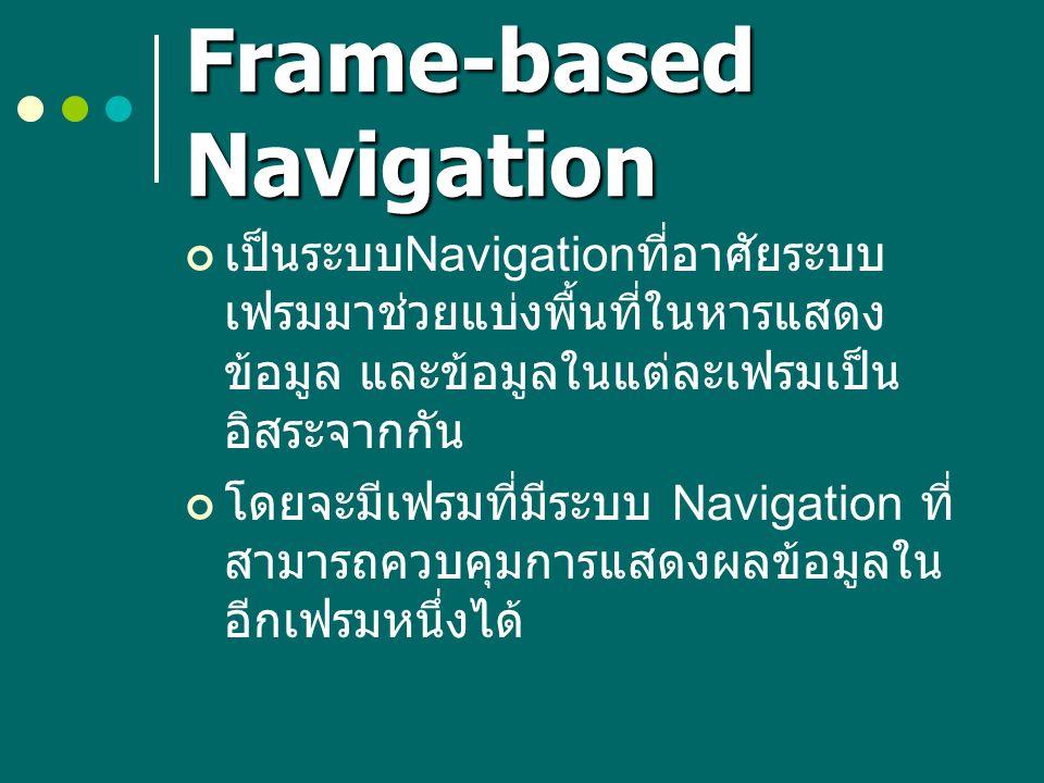 Frame-based Navigation เป็นระบบ Navigation ที่อาศัยระบบ เฟรมมาช่วยแบ่งพื้นที่ในหารแสดง ข้อมูล และข้อมูลในแต่ละเฟรมเป็น อิสระจากกัน โดยจะมีเฟรมที่มีระบ