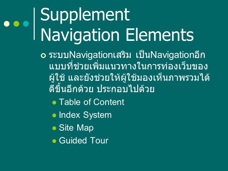 Supplement Navigation Elements ระบบ Navigation เสริม เป็น Navigation อีก แบบที่ช่วยเพิ่มแนวทางในการท่องเว็บของ ผู้ใช้ และยังช่วยให้ผู้ใช้มองเห็นภาพรวม