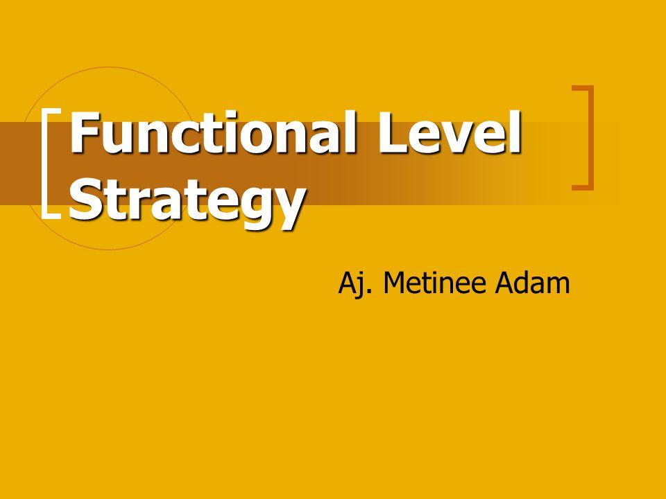 Introduction กลยุทธ์ระดับหน้าที่ (Functional Level Strategy) จะมุ่งการใช้ทรัพยากรของบริษัท ให้มีประสิทธิภาพสูงสุด โดยแผนกงานตาม หน้าที่จะพัฒนากลยุทธ์ของแผนกขึ้นมาเอง ภายใต้ข้อจำกัดของกลยุทธ์ระดับบริษัทและ หน่วยธุรกิจ