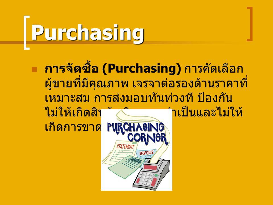 Purchasing การจัดซื้อ (Purchasing) การคัดเลือก ผู้ขายที่มีคุณภาพ เจรจาต่อรองด้านราคาที่ เหมาะสม การส่งมอบทันท่วงที ป้องกัน ไม่ให้เกิดสินค้าเกินความจำเป็นและไม่ให้ เกิดการขาดแคลน