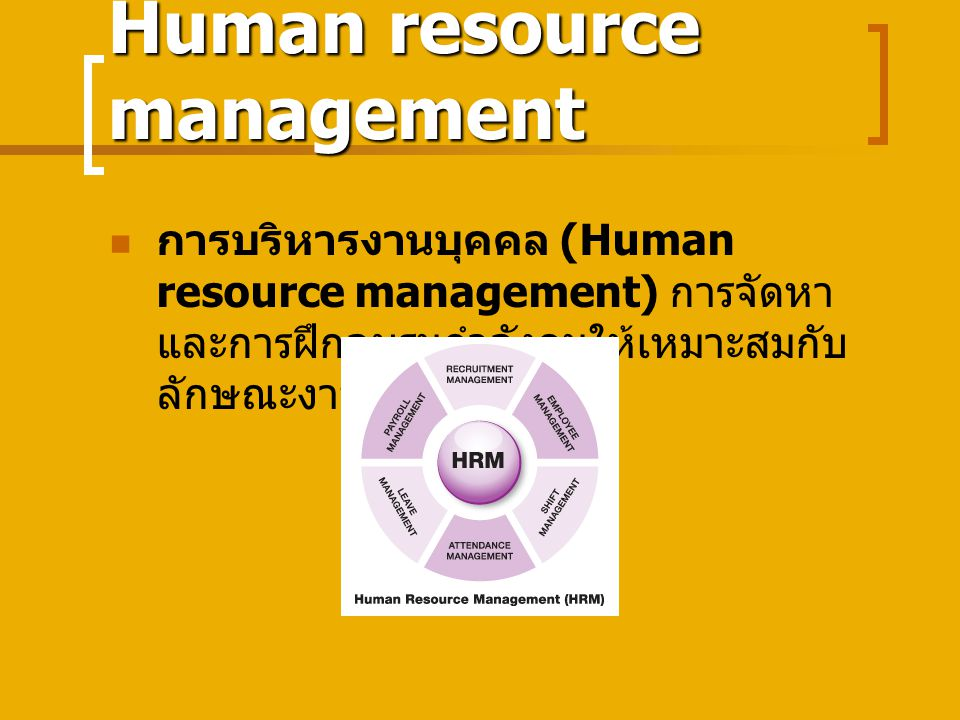 Human resource management การบริหารงานบุคคล (Human resource management) การจัดหา และการฝึกอบรมกำลังคนให้เหมาะสมกับ ลักษณะงาน