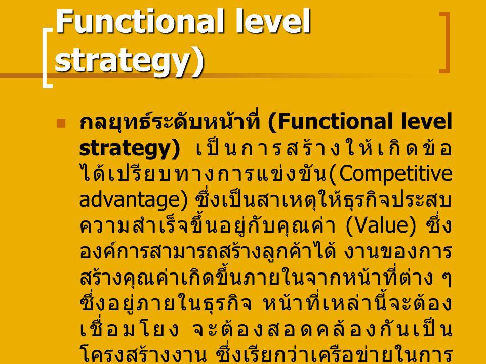 Functional level strategy) กลยุทธ์ระดับหน้าที่ (Functional level strategy) เป็นการสร้างให้เกิดข้อ ได้เปรียบทางการแข่งขัน (Competitive advantage) ซึ่งเป็นสาเหตุให้ธุรกิจประสบ ความสำเร็จขึ้นอยู่กับคุณค่า (Value) ซึ่ง องค์การสามารถสร้างลูกค้าได้ งานของการ สร้างคุณค่าเกิดขึ้นภายในจากหน้าที่ต่าง ๆ ซึ่งอยู่ภายในธุรกิจ หน้าที่เหล่านี้จะต้อง เชื่อมโยง จะต้องสอดคล้องกันเป็น โครงสร้างงาน ซึ่งเรียกว่าเครือข่ายในการ สร้างคุณค่า (value chain)