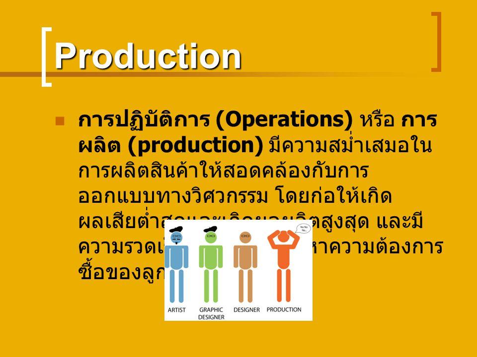 Production การปฏิบัติการ (Operations) หรือ การ ผลิต (production) มีความสม่ำเสมอใน การผลิตสินค้าให้สอดคล้องกับการ ออกแบบทางวิศวกรรม โดยก่อให้เกิด ผลเสียต่ำสุดและเกิดผลผลิตสูงสุด และมี ความรวดเร็วในการปรับเข้าหาความต้องการ ซื้อของลูกค้าได้