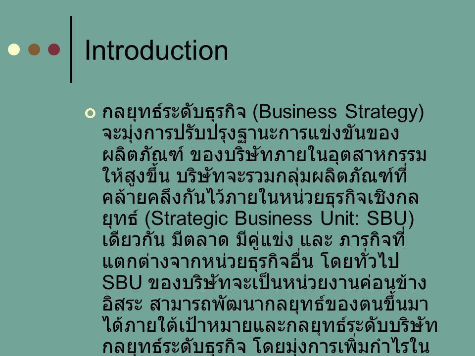 Business Level Strategy บางครั้งจะเรียกกลยุทธ์ระดับนี้ว่า กล ยุทธ์การแข่งขัน (Competitive Strategy) กลยุทธ์ระดับธุรกิจ โดยทั่วไป จะมีอยู่ 4 ประเภท คือ การเป็นผู้นำทางต้นทุน ข้อได้เปรียบทางด้านการแข่งขัน การปรับตัวที่รวดเร็ว การมุ่งที่ลูกค้ากลุ่มเล็ก