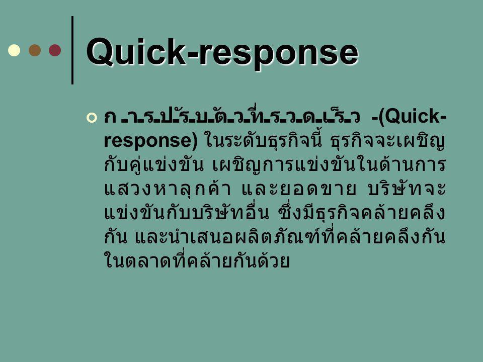 Quick-response การปรับตัวที่รวดเร็ว (Quick- response) ในระดับธุรกิจนี้ ธุรกิจจะเผชิญ กับคู่แข่งขัน เผชิญการแข่งขันในด้านการ แสวงหาลุกค้า และยอดขาย บริษัทจะ แข่งขันกับบริษัทอื่น ซึ่งมีธุรกิจคล้ายคลึง กัน และนำเสนอผลิตภัณฑ์ที่คล้ายคลึงกัน ในตลาดที่คล้ายกันด้วย