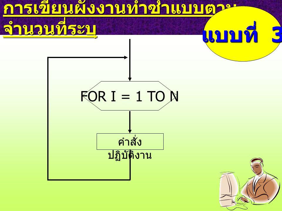 การเขียนผังงานทำซ้ำแบบตาม จำนวนที่ระบุ แบบที่ 3 คำสั่ง ปฏิบัติงาน FOR I = 1 TO N