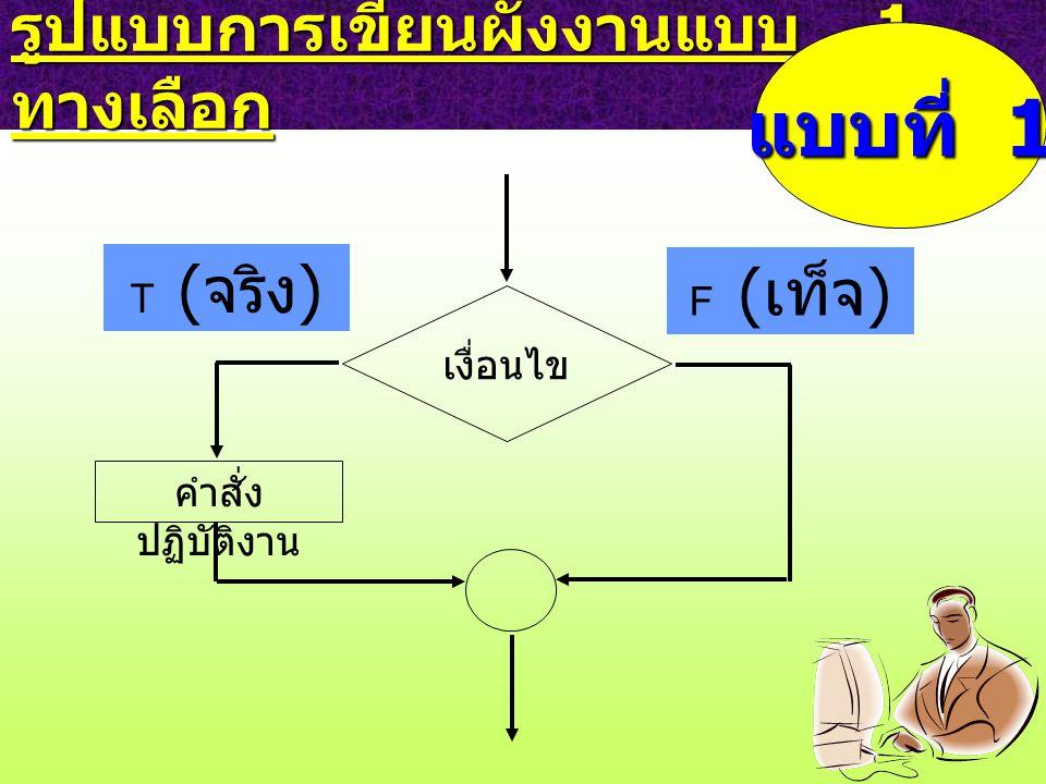 รูปแบบการเขียนผังงานแบบ 1 ทางเลือก เงื่อนไข F ( เท็จ ) คำสั่ง ปฏิบัติงาน T ( จริง ) แบบที่ 1