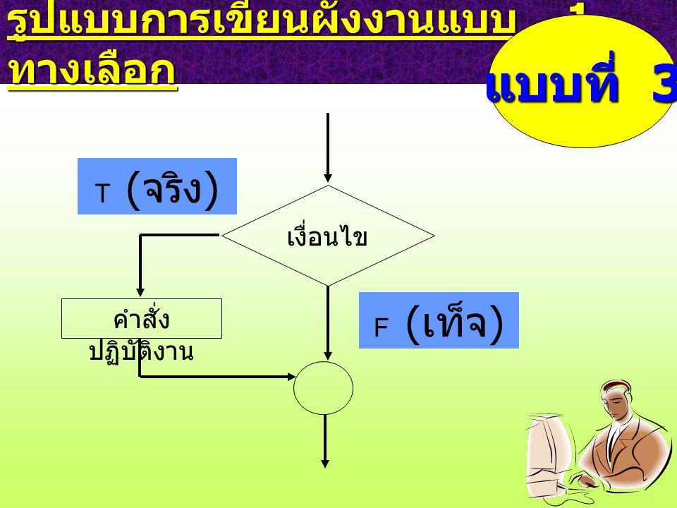 รูปแบบการเขียนผังงานแบบ 1 ทางเลือก เงื่อนไข F ( เท็จ ) คำสั่ง ปฏิบัติงาน T ( จริง ) แบบที่ 3
