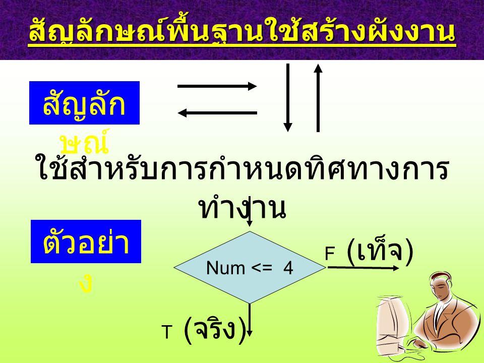 สัญลักษณ์พื้นฐานใช้สร้างผังงาน สัญลัก ษณ์ ใช้สำหรับการกำหนดทิศทางการ ทำงาน ตัวอย่า ง Num <= 4 F ( เท็จ ) T ( จริง )