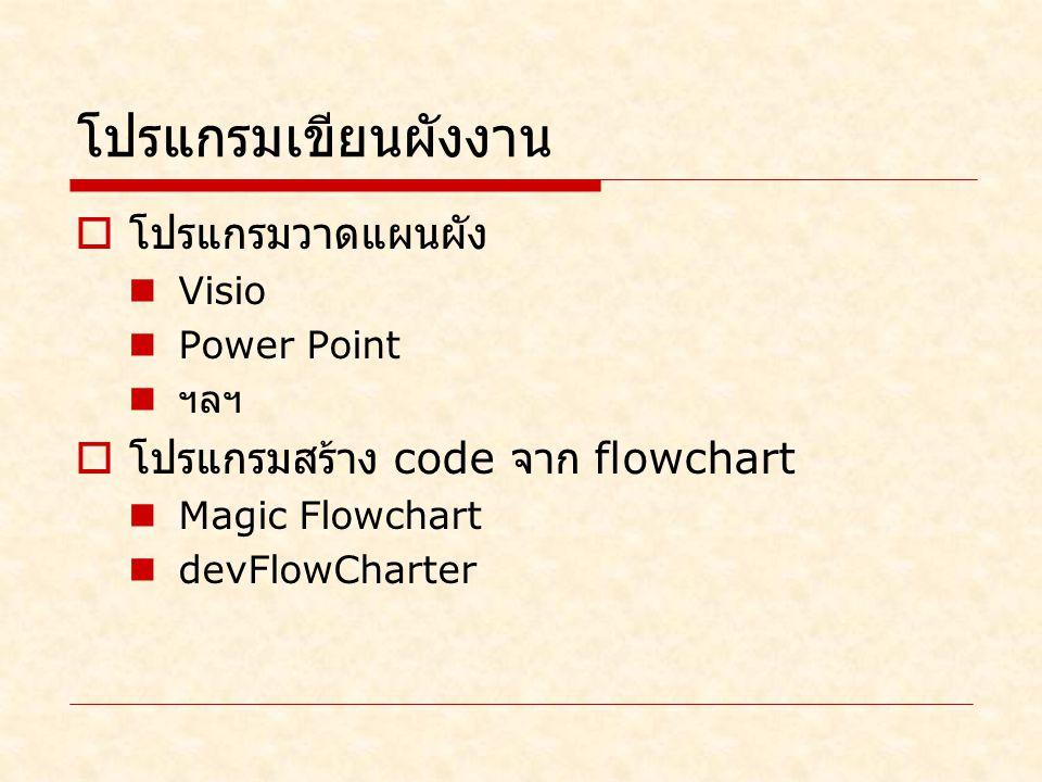 โปรแกรมเขียนผังงาน  โปรแกรมวาดแผนผัง Visio Power Point ฯลฯ  โปรแกรมสร้าง code จาก flowchart Magic Flowchart devFlowCharter